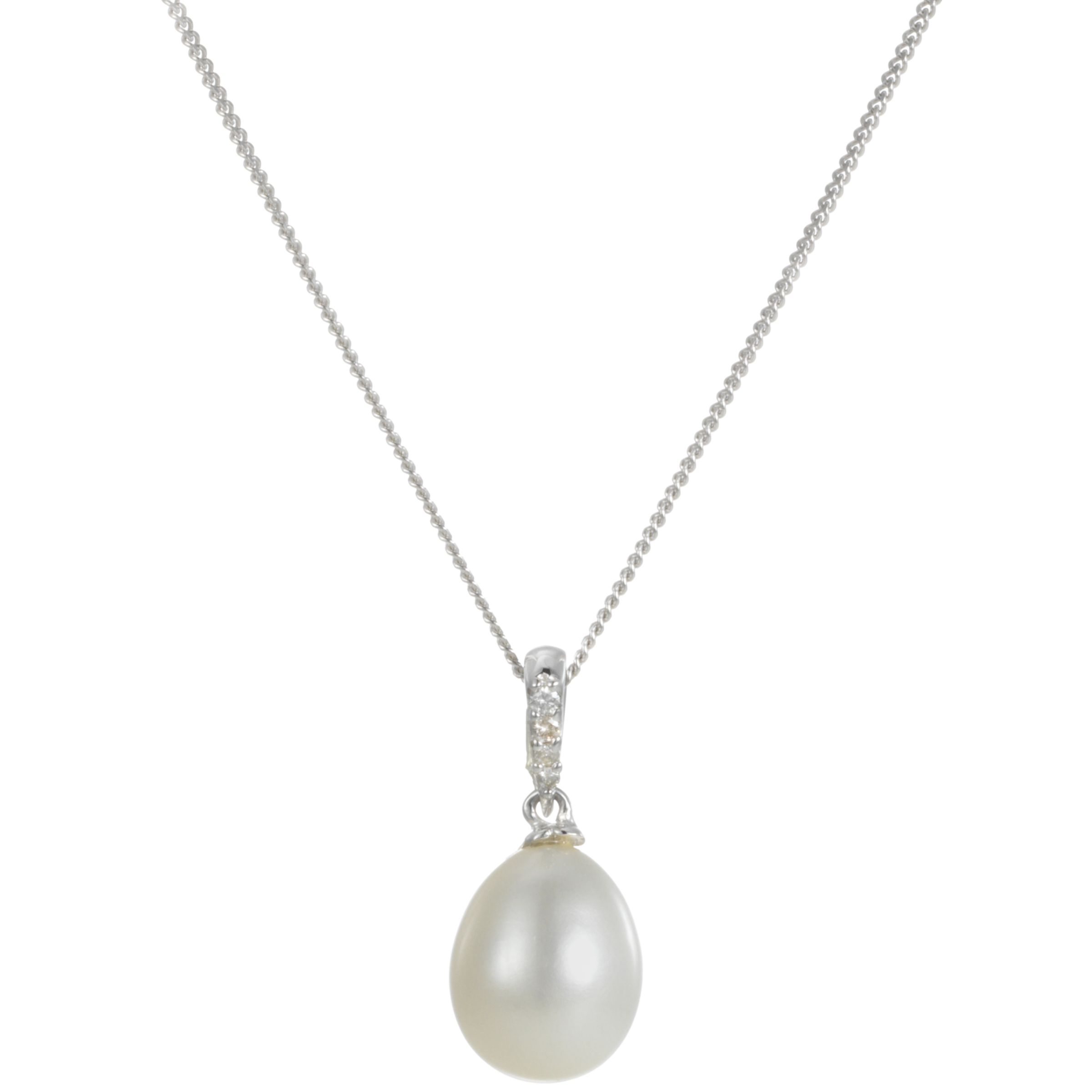 9ct White Gold Freshwater Pearl and Diamond Pendant Necklace