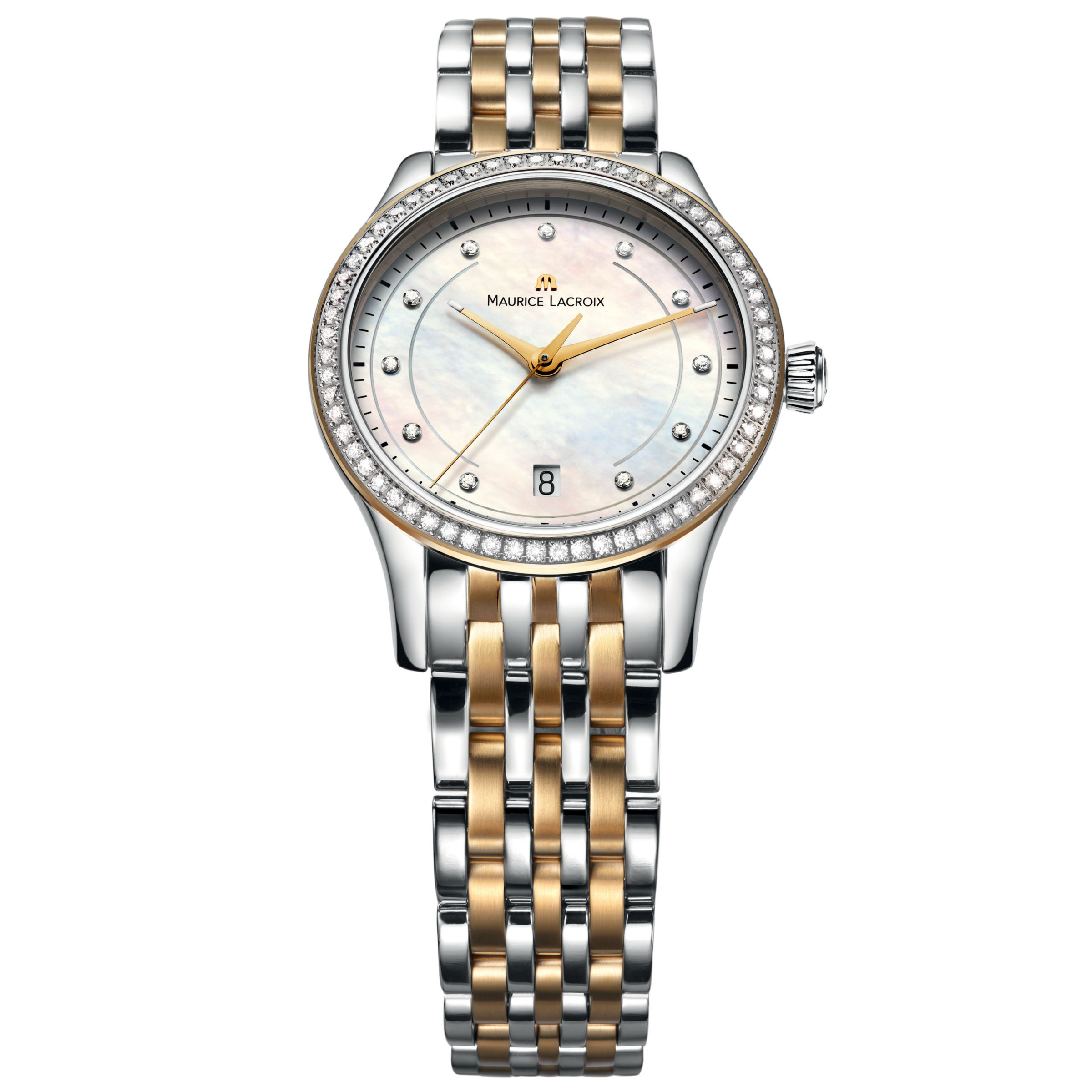 Maurice Lacroix LC1026-PVY23-170 Womens Round Dial with Diamonds Steel and Yellow PVD Bracelet Watch