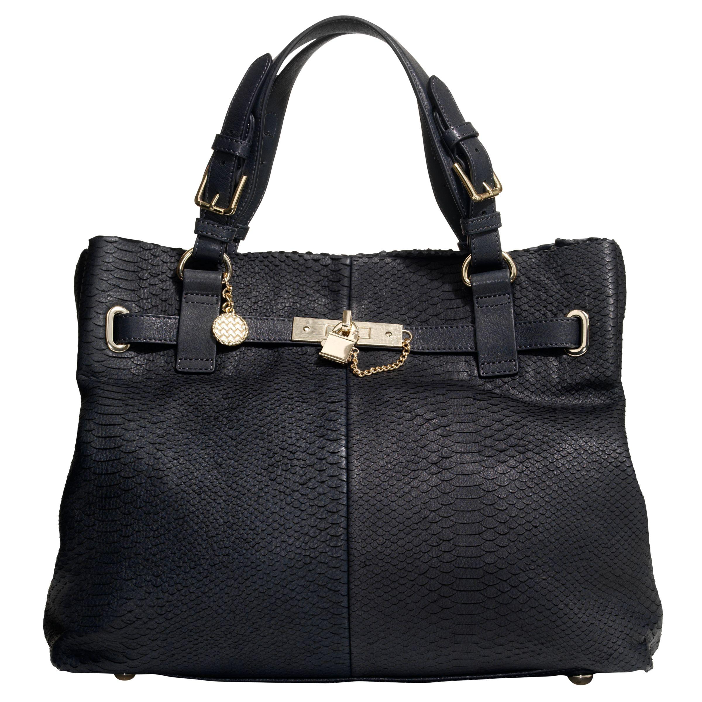 Reiss Bleeker Lock Detail Bag, Graphite at JohnLewis