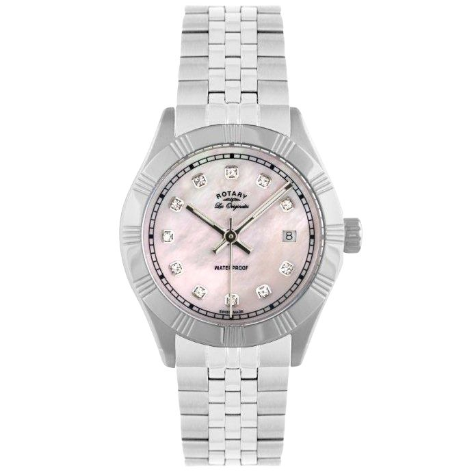 Rotary LB90100/07 Women's Round Dial Stainless Steel Bracelet Watch at JohnLewis