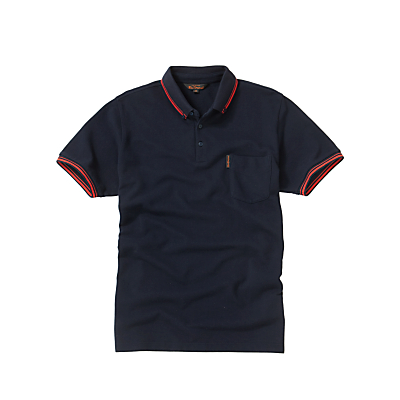 Ben Sherman Button Collar Tipped Polo Shirt, Navy
