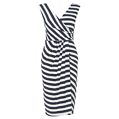 Buy Phase Eight Stripe Renee Dress, Navy/Ivory online at JohnLewis.com - John Lewis :  striped dress draped asymmetrical