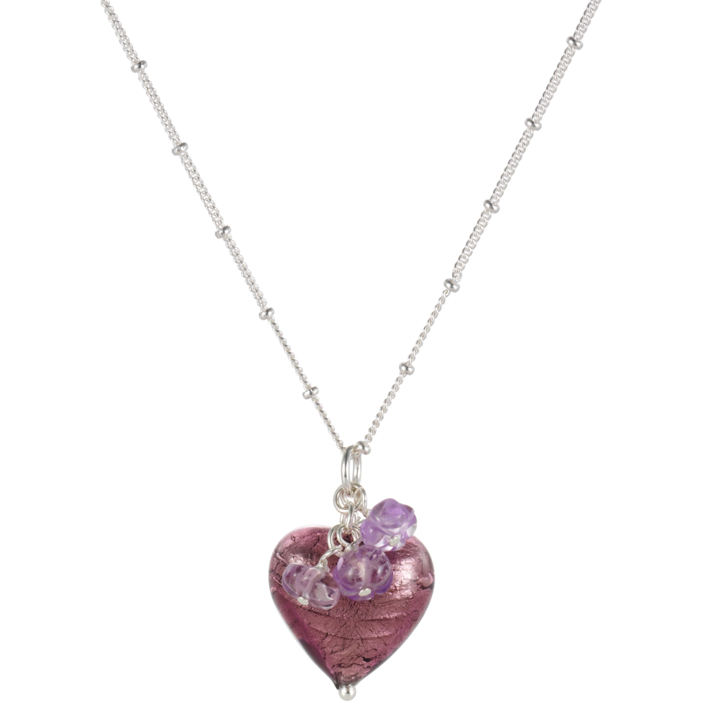 Martick Plum Murano Glass Heart Cluster Pendant Necklace