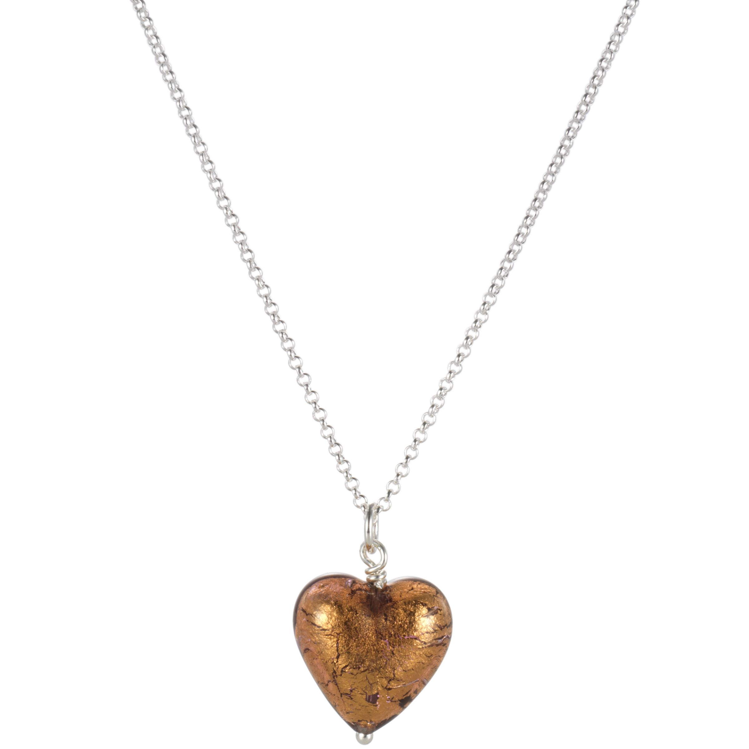 Martick Chocolate Murano Glass Heart Pendant Necklace