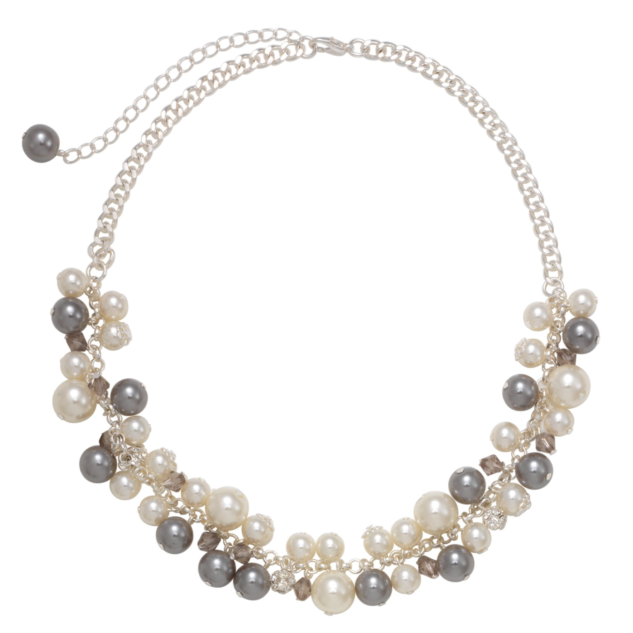 John Lewis Women White and Grey Pearl and Crystal Cluster Necklace