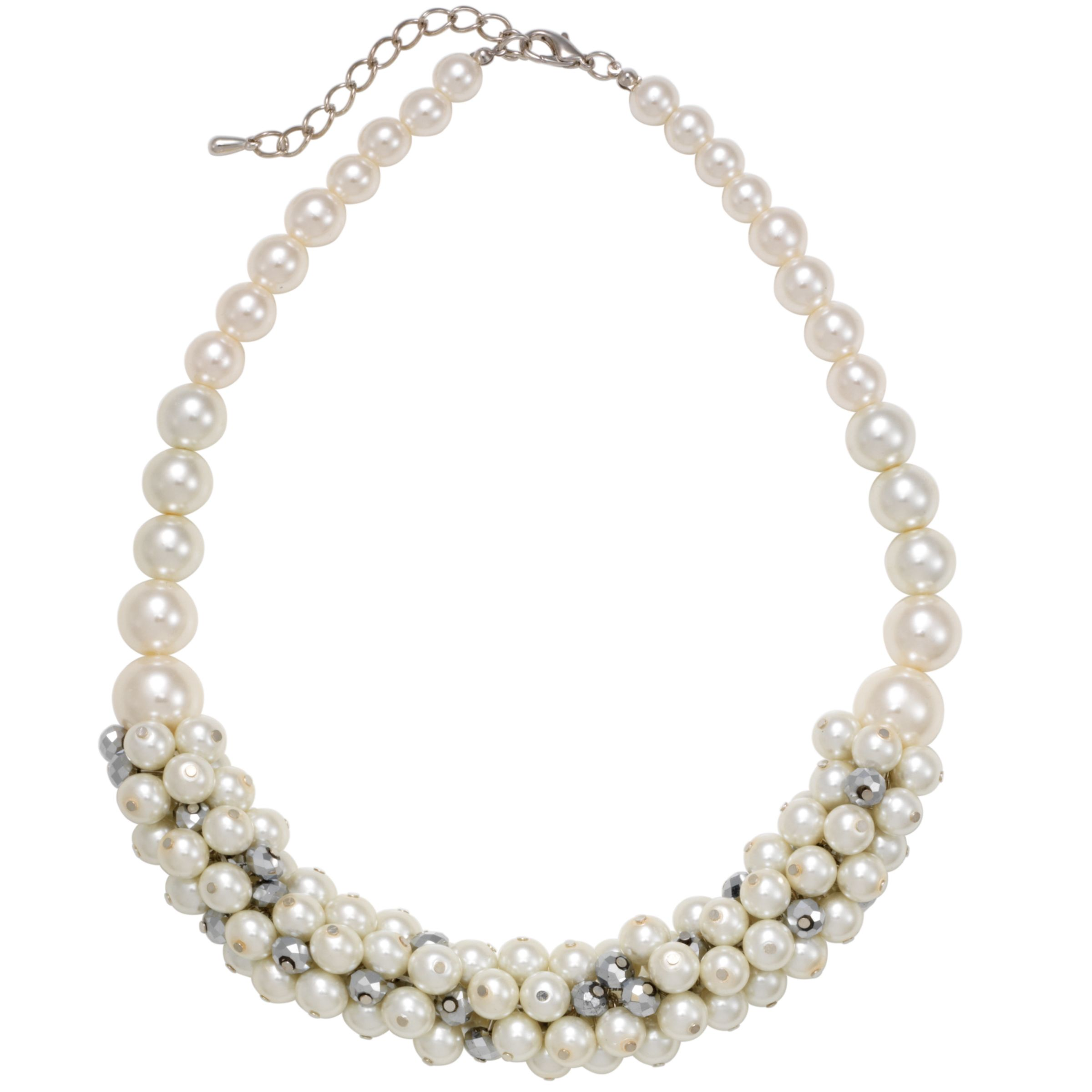 John Lewis Women Pearl and Crystal Cluster Necklace, White