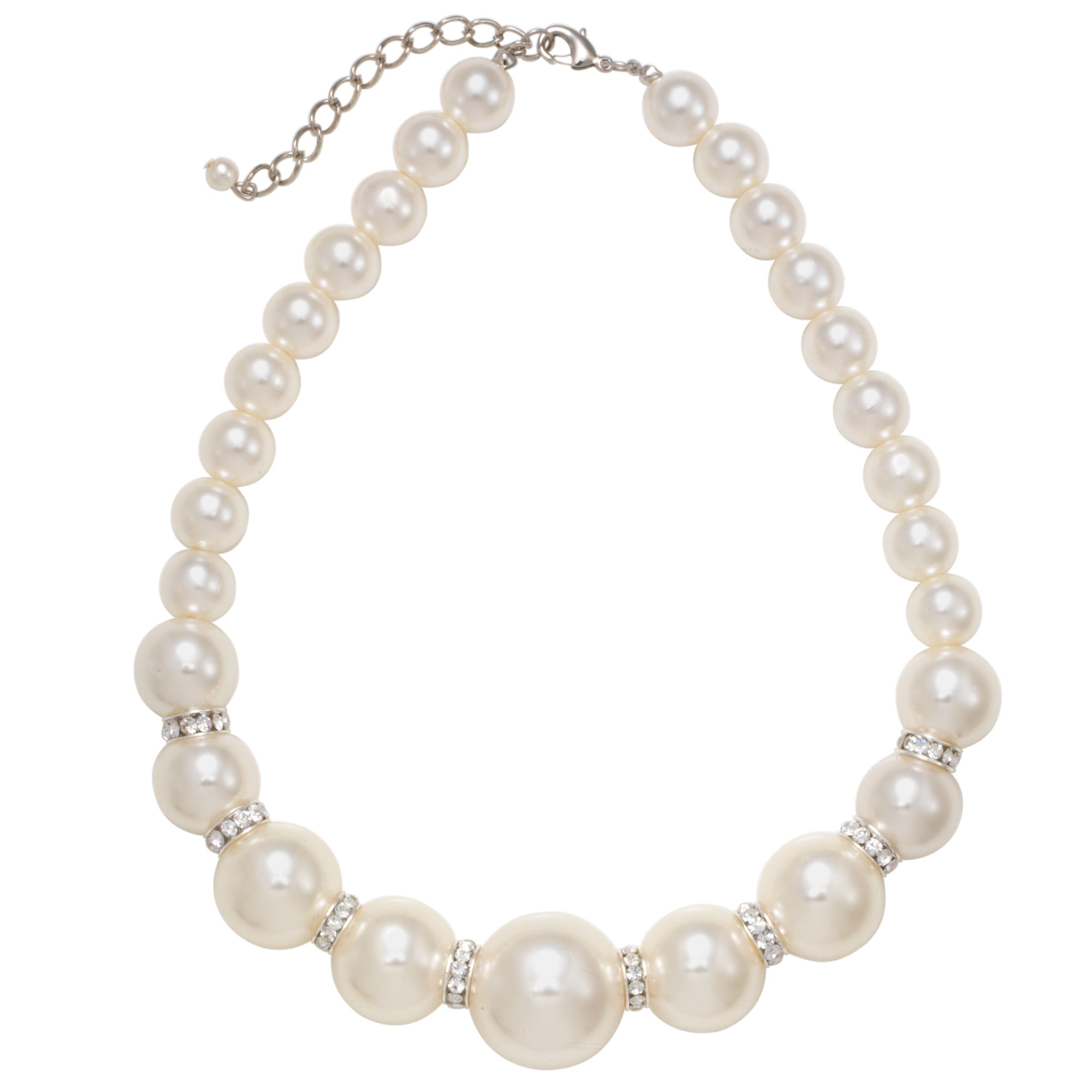 John Lewis Women Graduate Large Pearl and Diamante Necklace