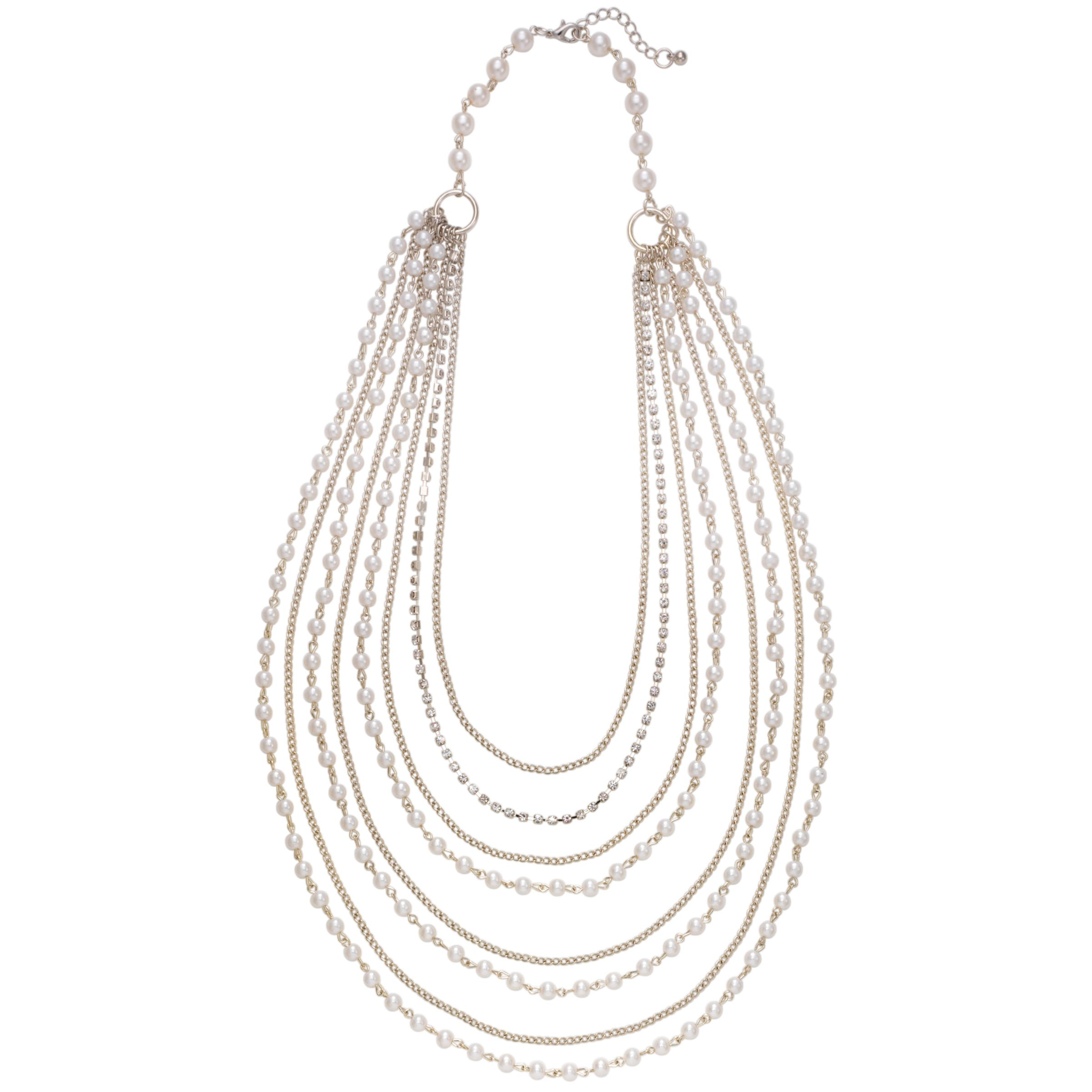 John Lewis Women Cream Pearl and Chain Multi Strand Necklace