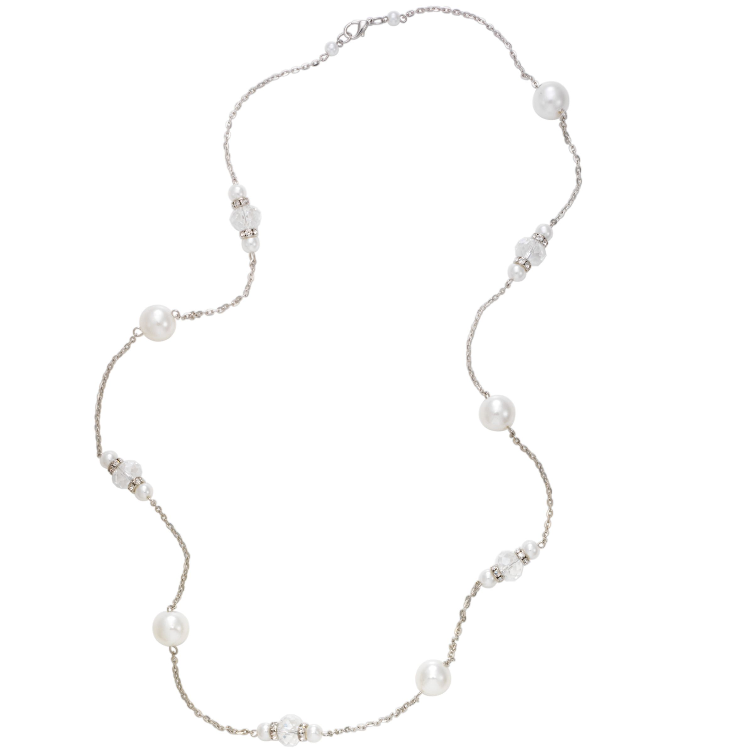 John Lewis Women Pearl and Bead Long Necklace, White
