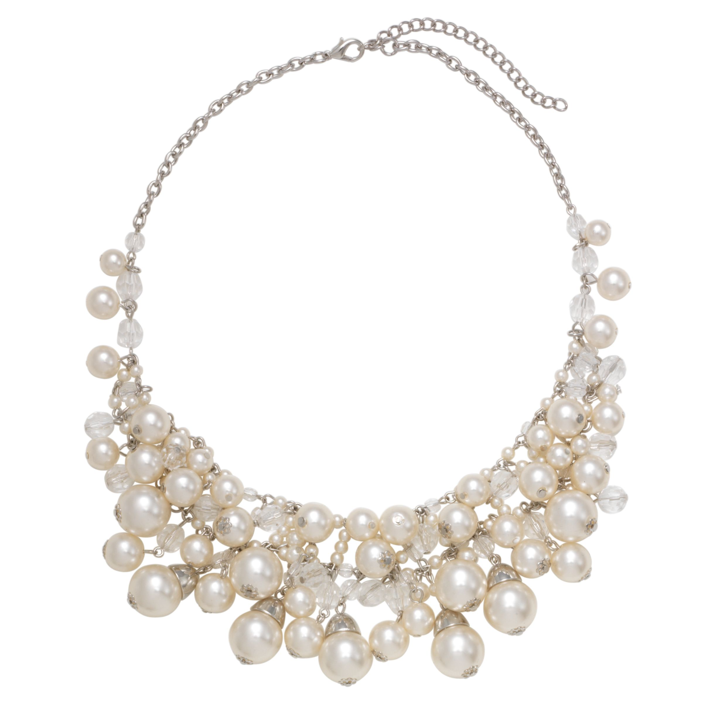 John Lewis Women Pearl Silver Crystal Glass Bead Collar Necklace