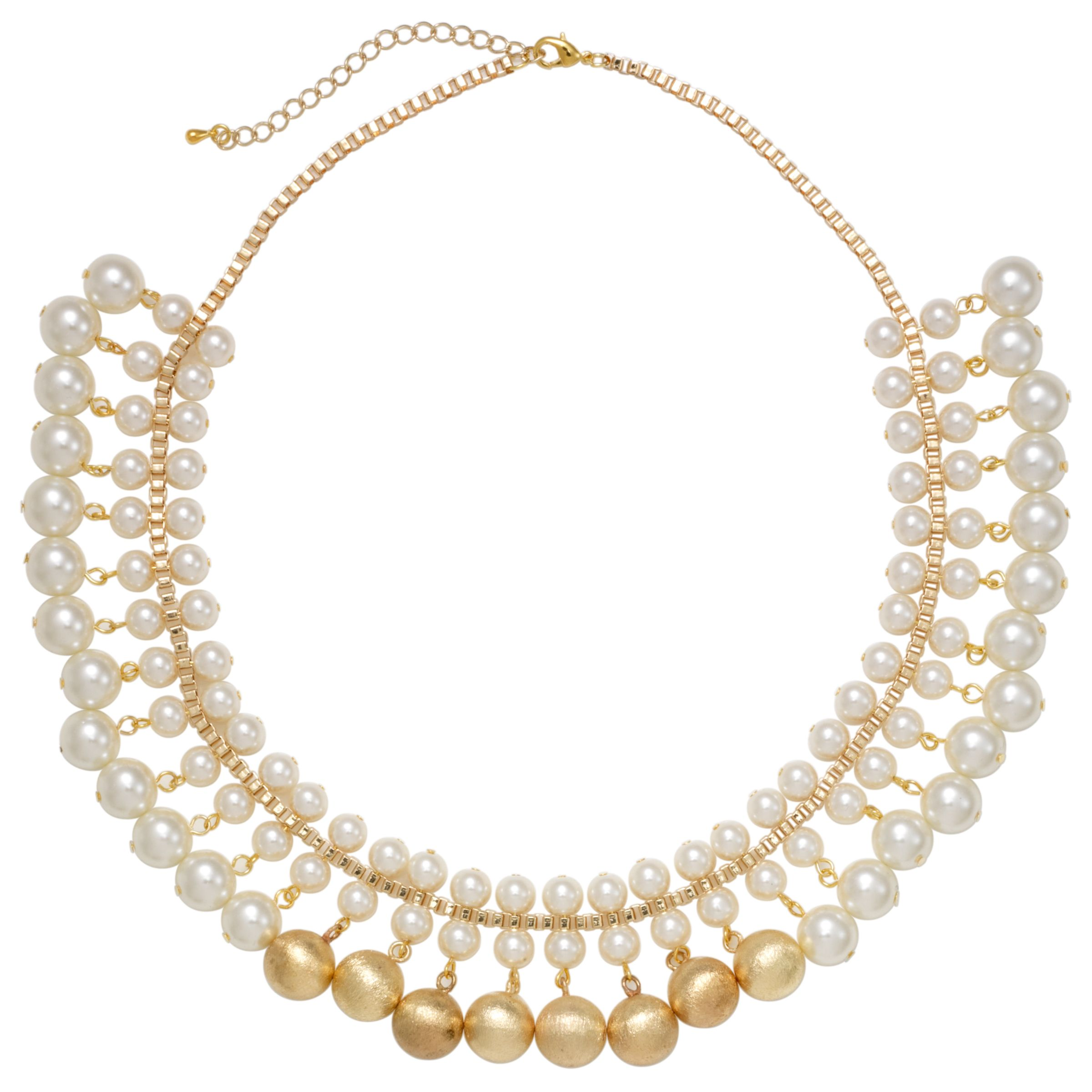 John Lewis Women Pearl and Brushed Metal Ball Necklace