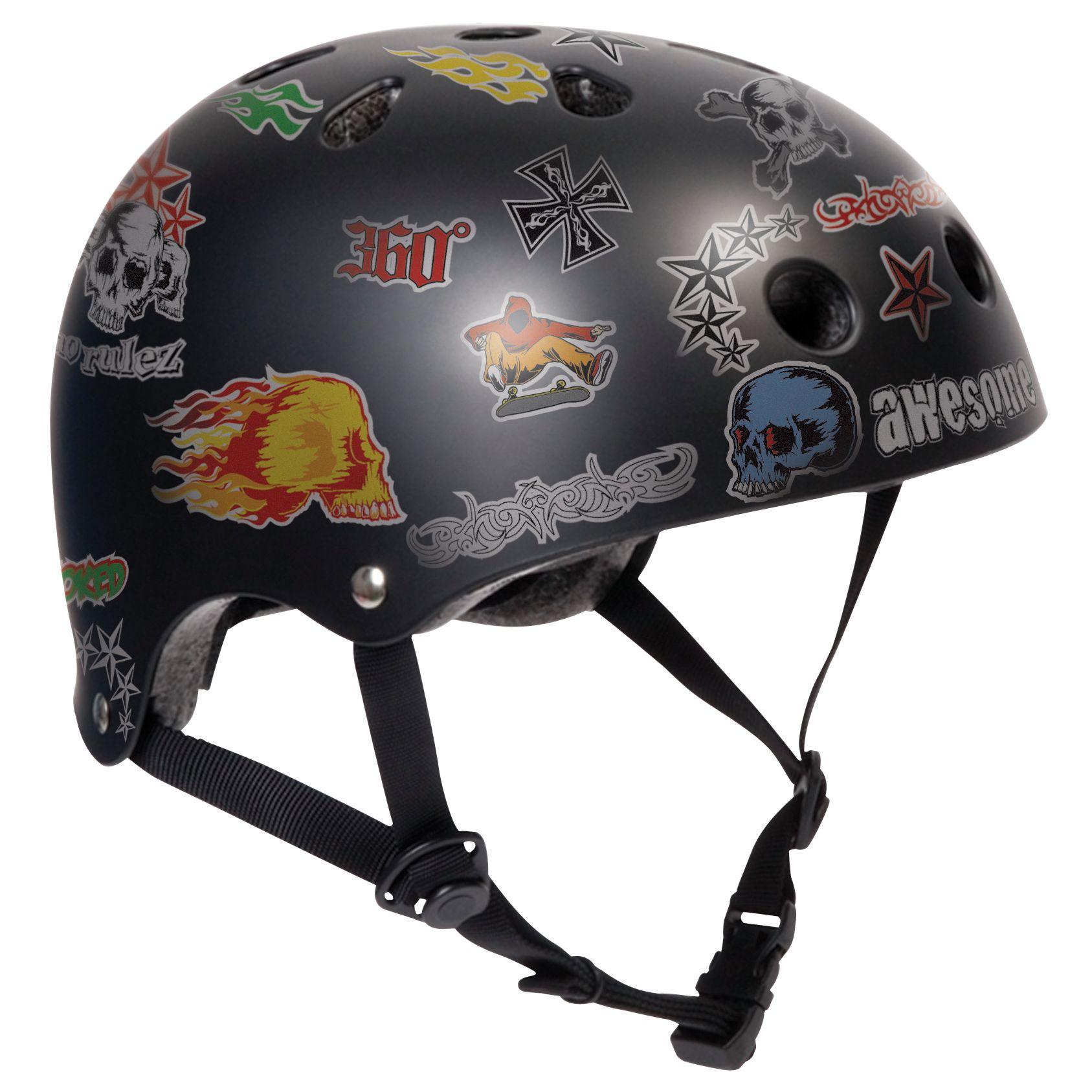 Stateside Skates Stickered Helmet, Black