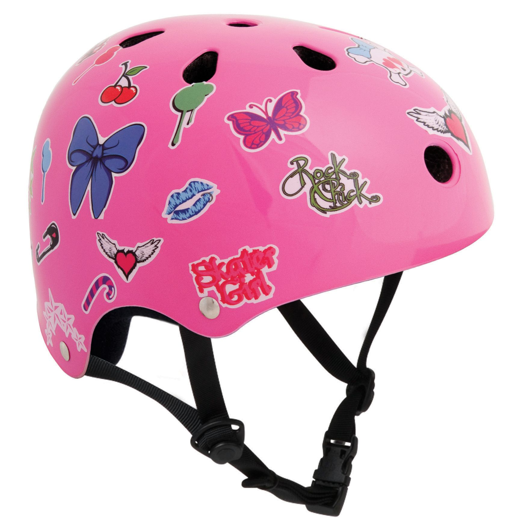 Stateside Skates Stickered Helmet, Pink