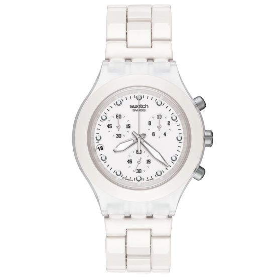 Swatch Svck4045a Unisex Full Blooded White Round Dial White Aluminium Bracelet Watch