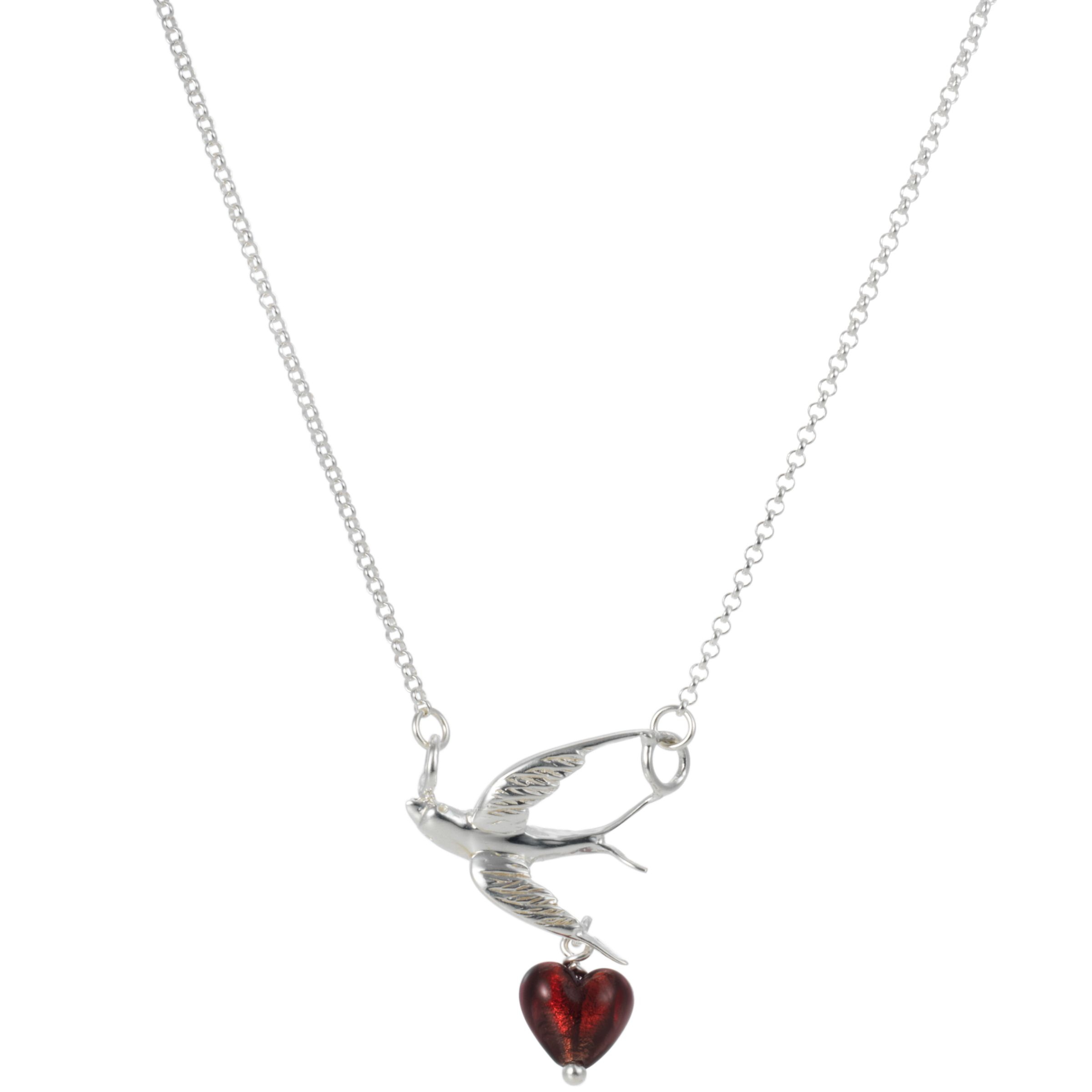 Martick Swallow and Cranberry Murano Heart Pendant Necklace