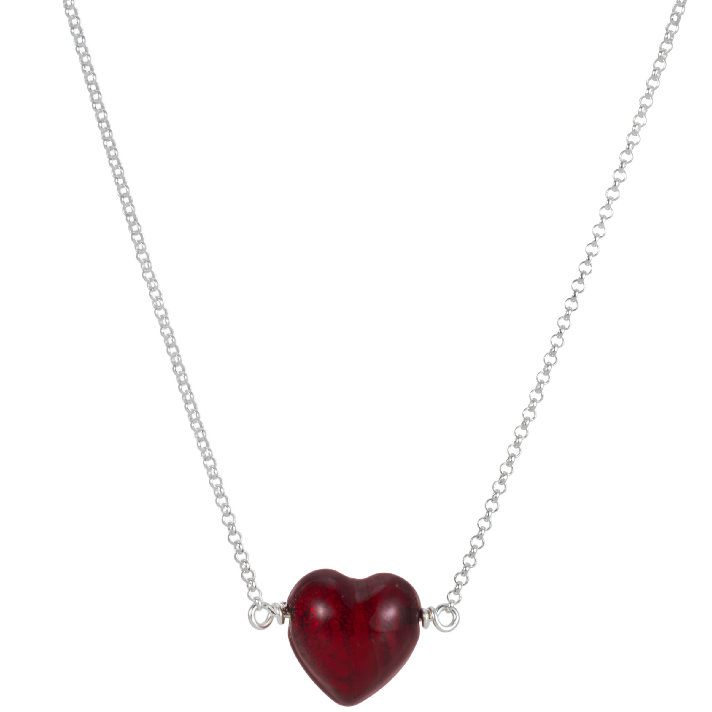 Martick Cranberry Thread Through Heart Pendant Necklace