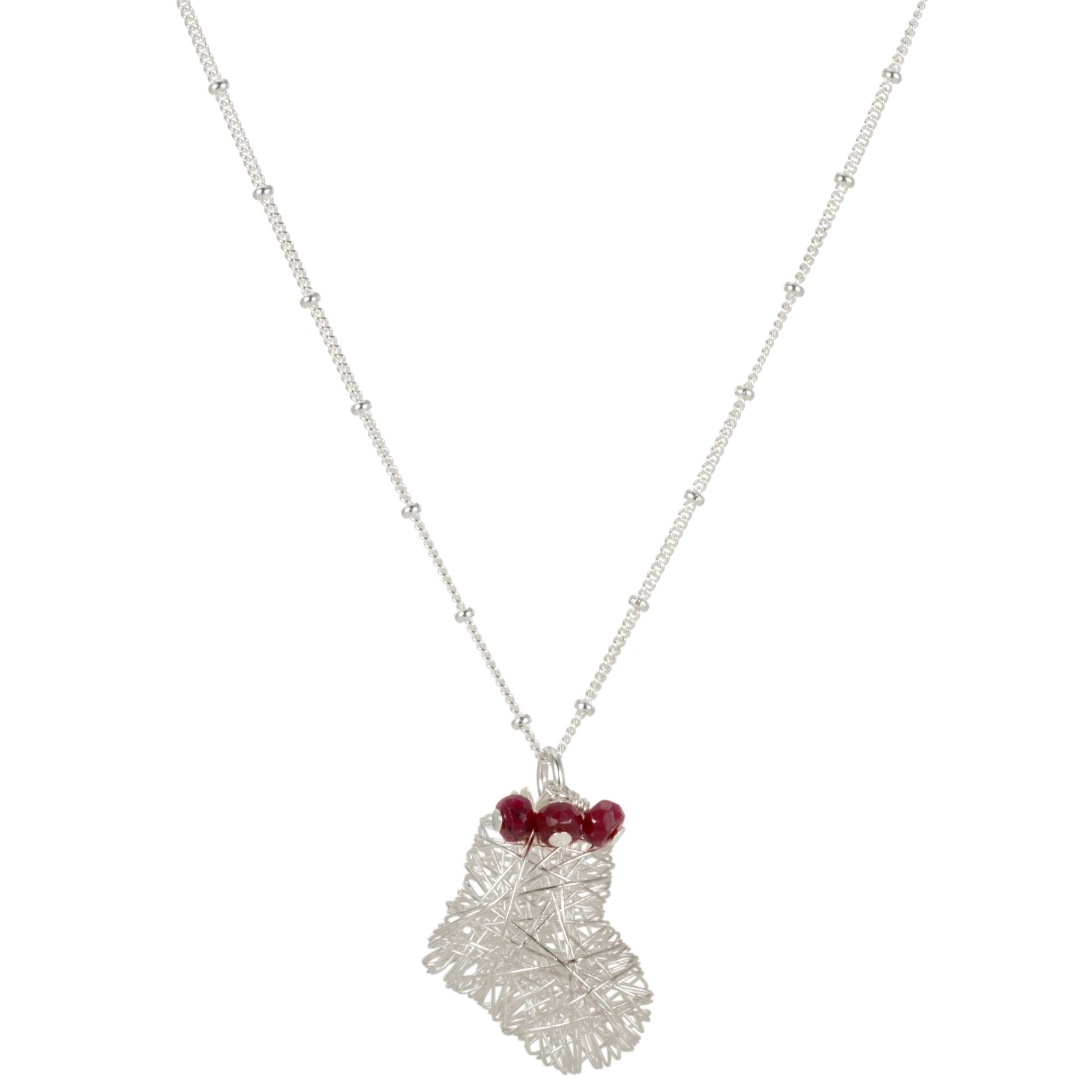 Martick Wire Heart and Ruby Rough Beads Pendant Necklace