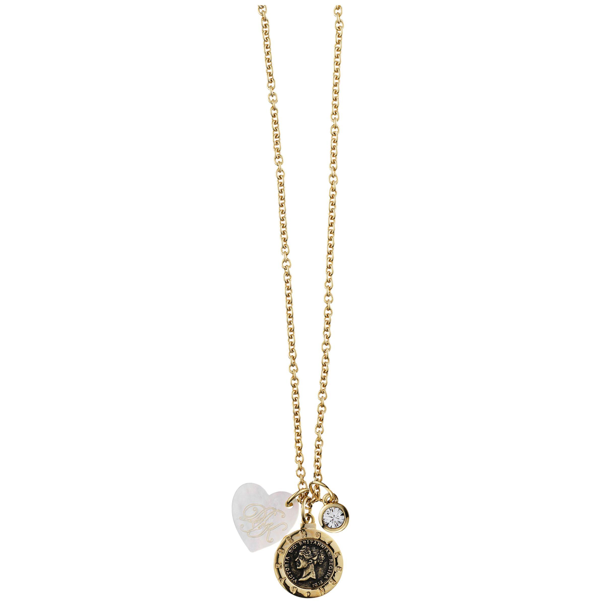 Dyrberg/Kern Constancia Swarovski Crystal Pendant Cluster Gold Necklace