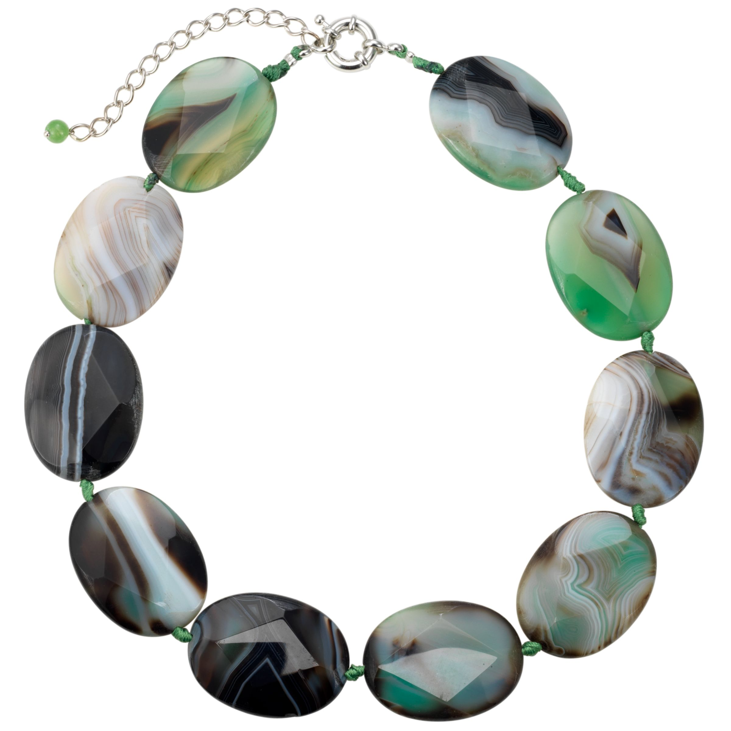 Gemstone, John Lewis Women Faceted Green Agate Necklace