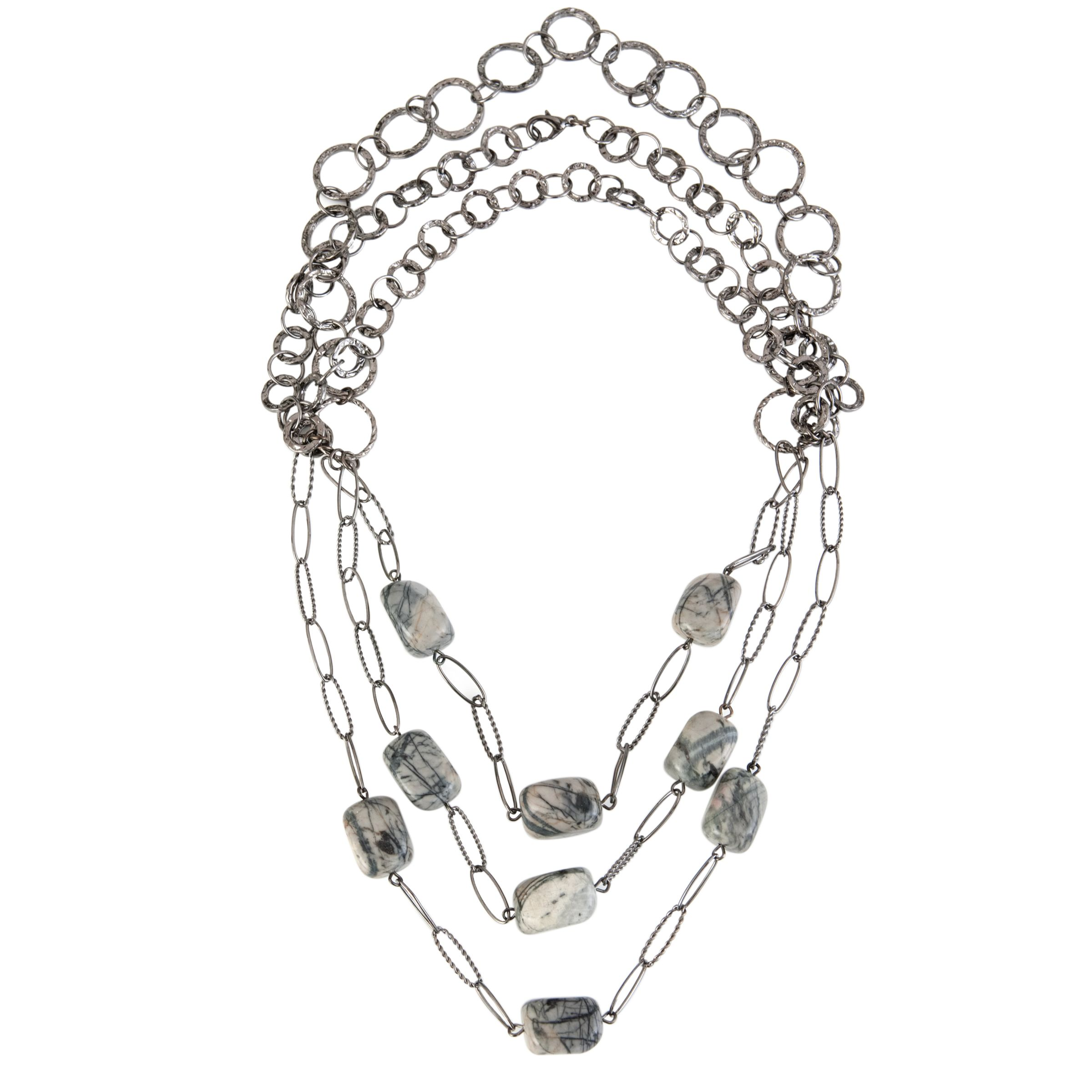 COLLECTION, John Lewis Women Grey Bead 3 Strand Gunmetal Necklace
