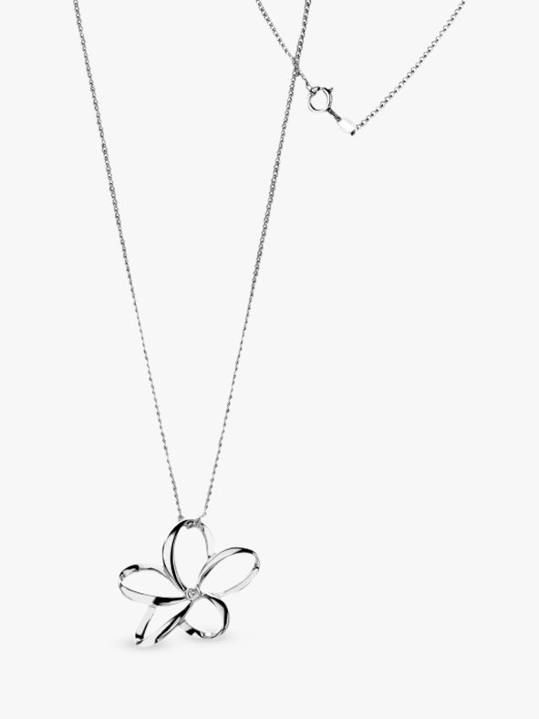 Hot Diamonds Plumeria Mini Open Flower Pendant Necklace