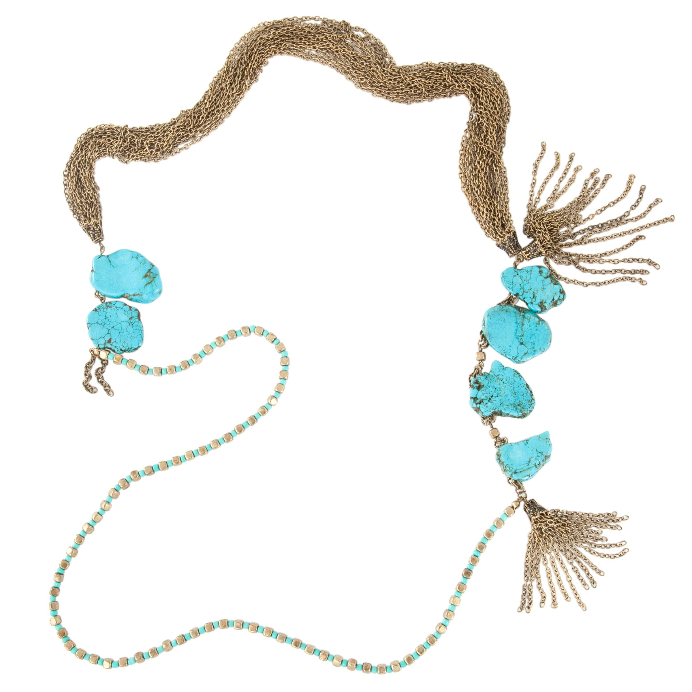 COLLECTION, John Lewis Women Turquoise Brass Chain Necklace