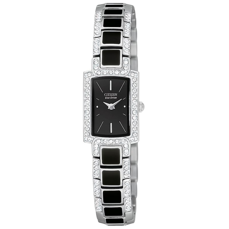 Citizen EG2710-54ELDS Rectangular Black Dial Stainless Steel and Enamel Bracelet Watch