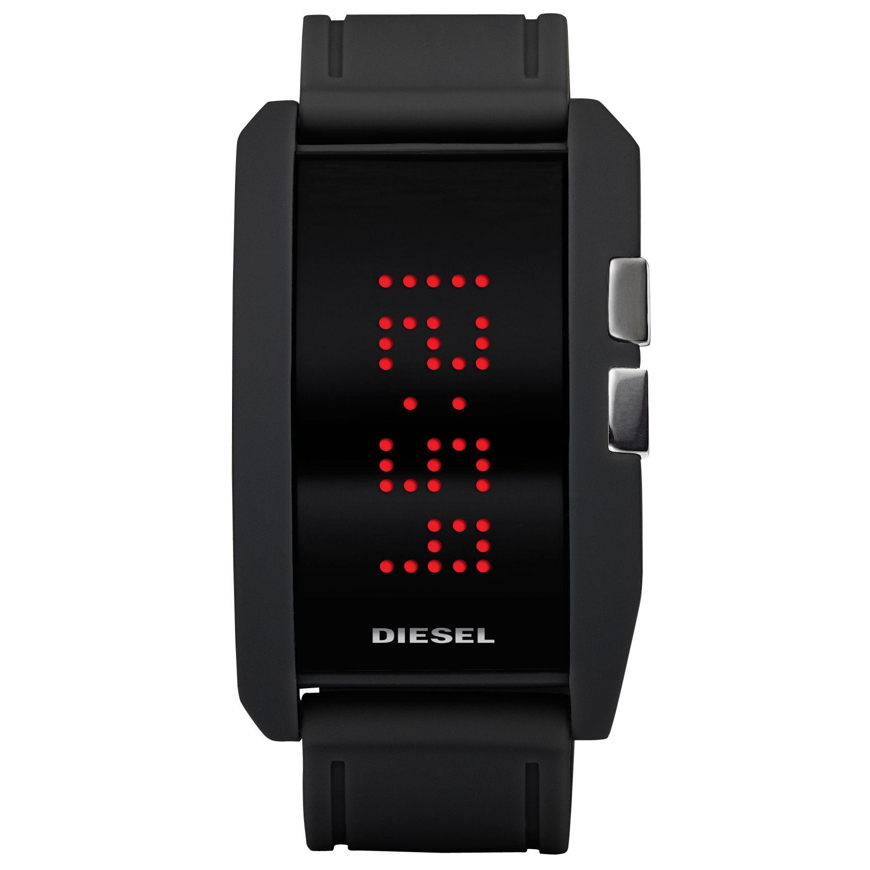 Diesel DZ7164 Unisex Digital Rectangular Black Dial Black Silicone Strap Watch