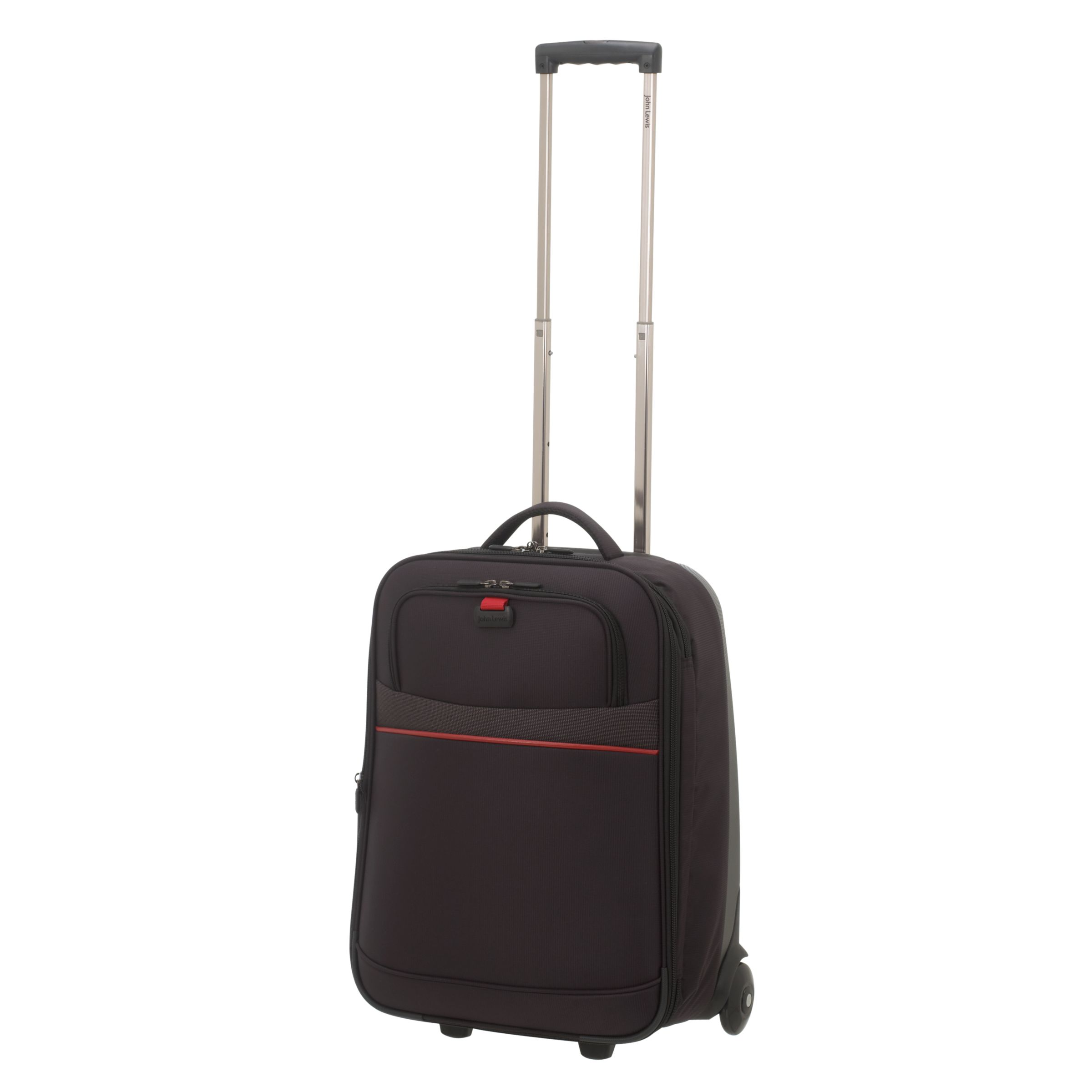 John Lewis Fusion 2-Wheel Suitcase, Black/Red, Cabin