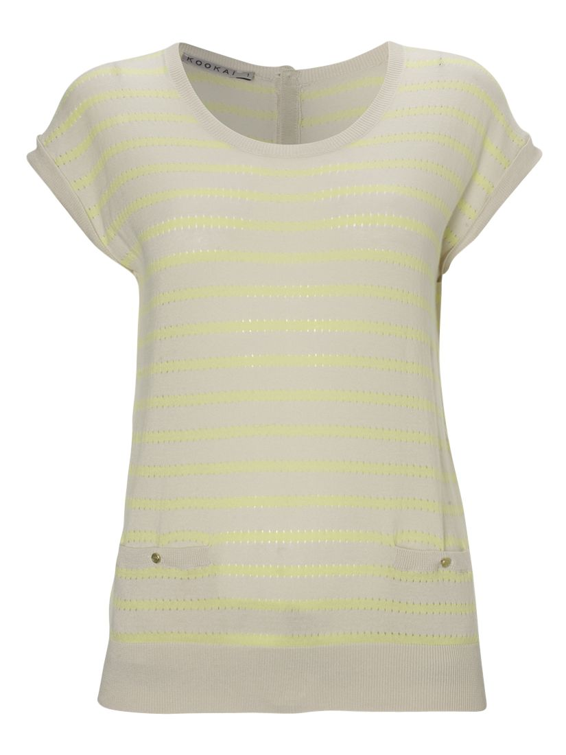 Kookai Stripe Pointelle Detail Short Sleeve Jumper, cream/orange