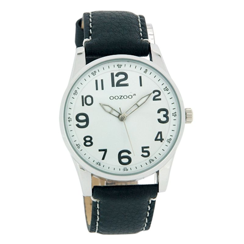 Oozoo JR178 Unisex Round White Dial Black Leather Strap Watch