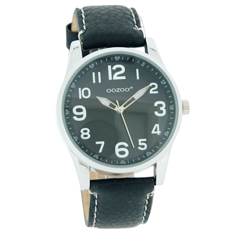 Ooozoo JR179 Unisex Round Black Dial Black Leather Strap Watch