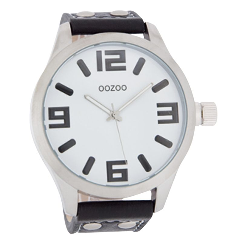 Ozoo C4064 Unisex Large Round White Face Black Leather Strap Watch