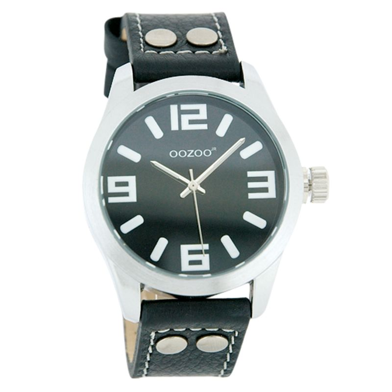 Oozoo JR152 Unisex Round Black Face Leather Strap Watch