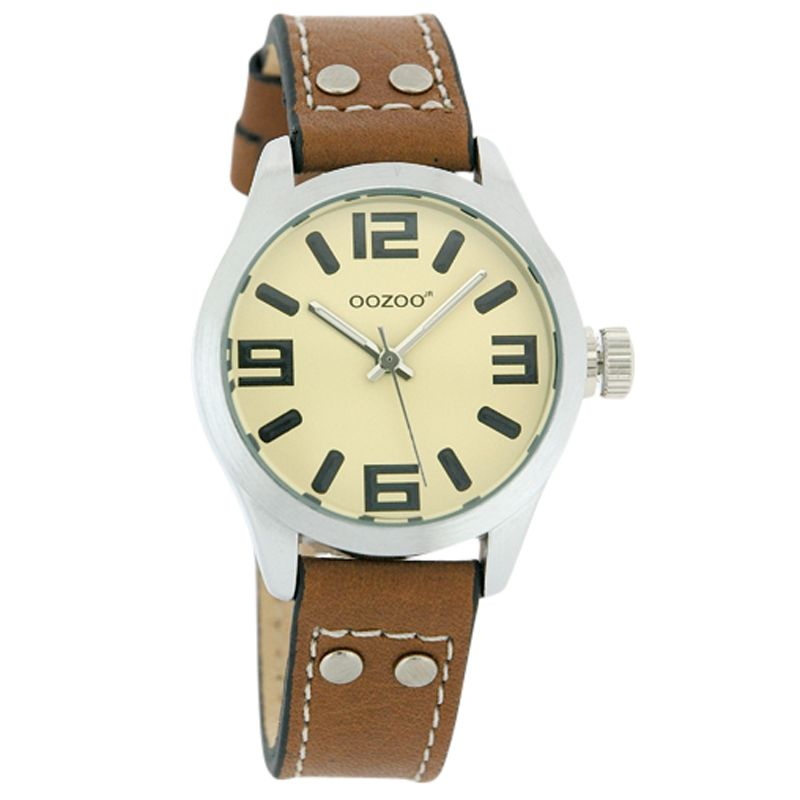 Oozoo JR158 Unisex Round Cream Face Leather Strap Watch