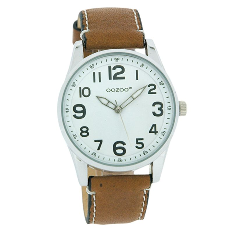 Oozoo JR176 Unisex Round White Face Leather Strap Watch