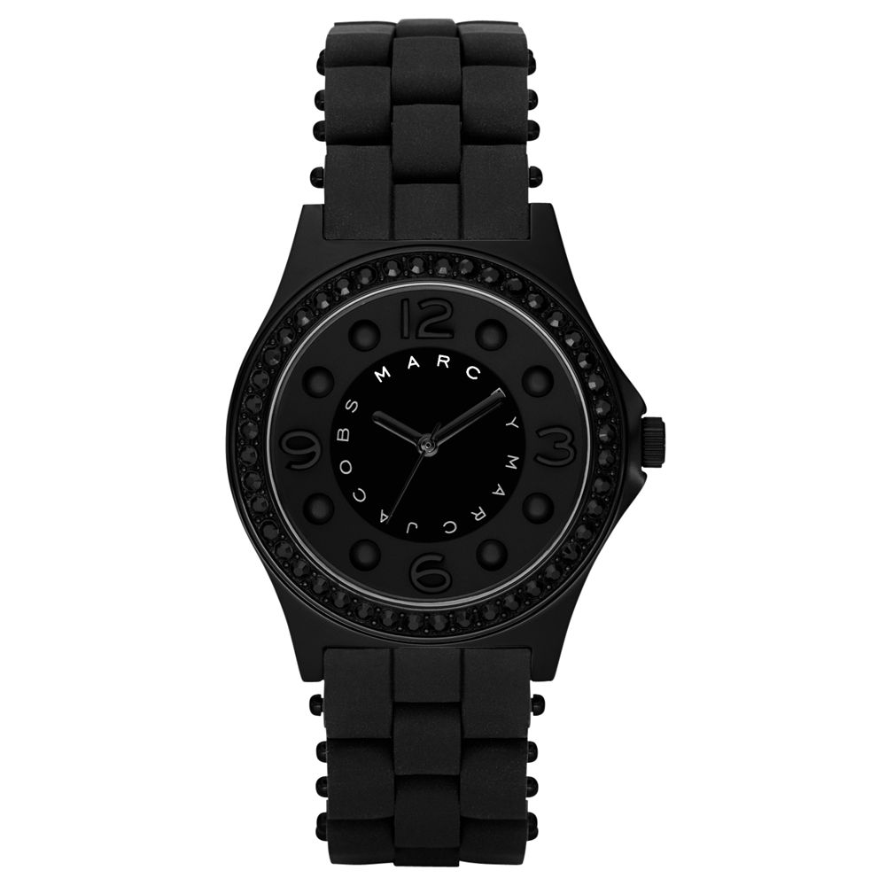 Marc by Marc Jacobs MBM2542 Unisex Round Black Dial Black IP and Silicone Bracelet Watch