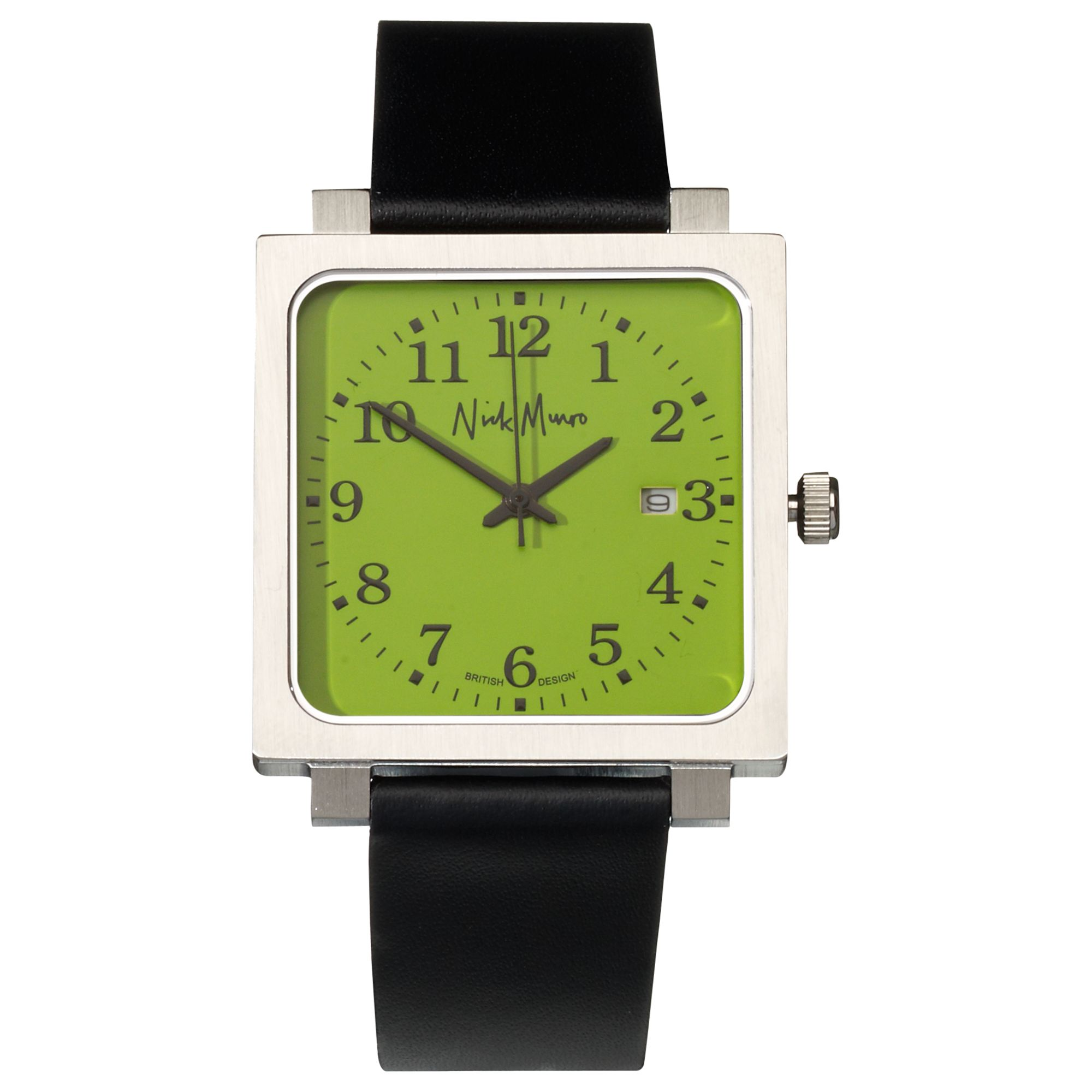 Nick Munro NM00124 Unisex Square Face Leather Strap Watch, Black/Green