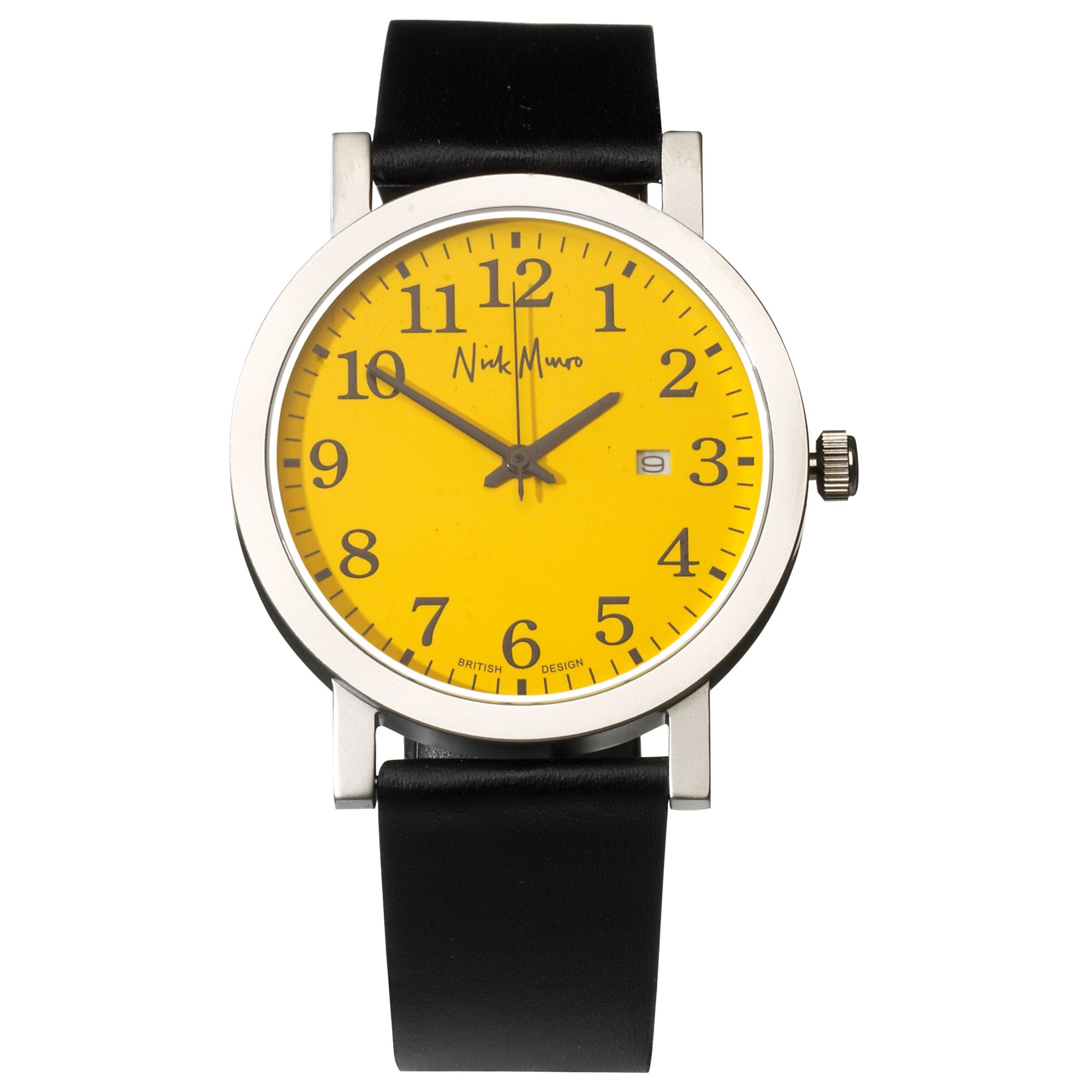 Nick Munro NM00130 Unisex Black Round Dial Black Strap Watch, Yellow