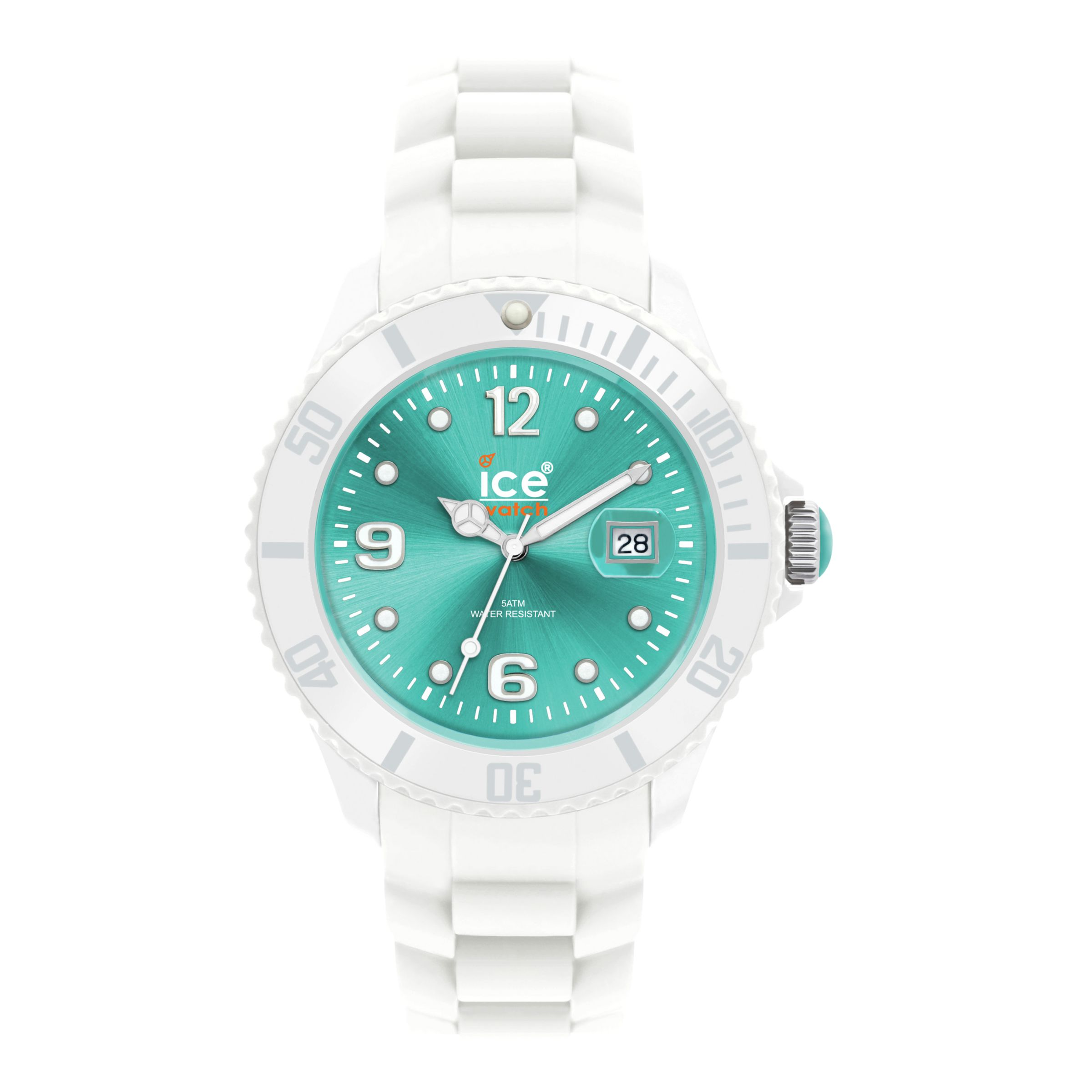 Ice-Watch SI-WT-S-S Unisex Round Turquoise Dial White Silicone Bracelet Watch