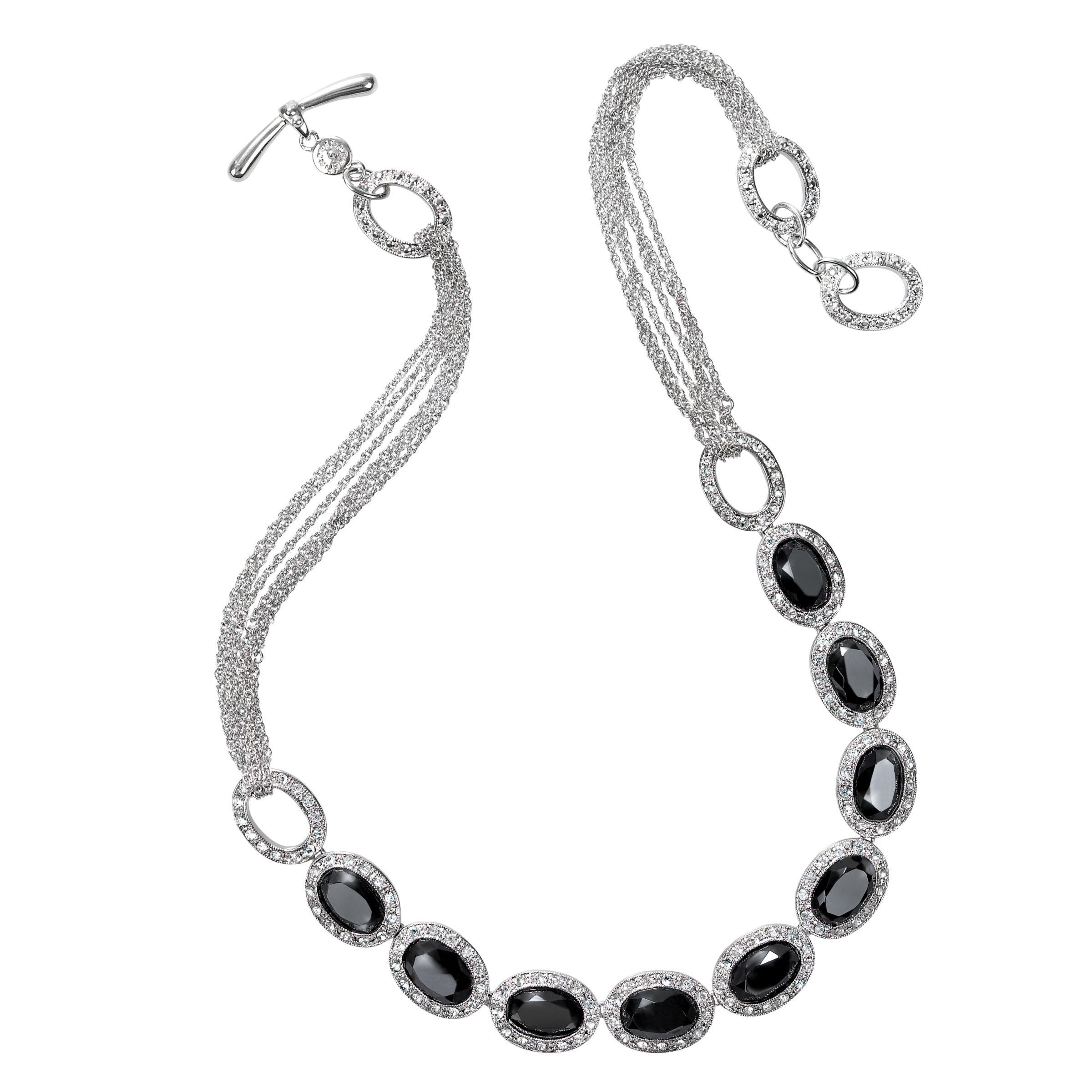 Monet Jet and Pave Cubic Zirconia Crystal Necklace