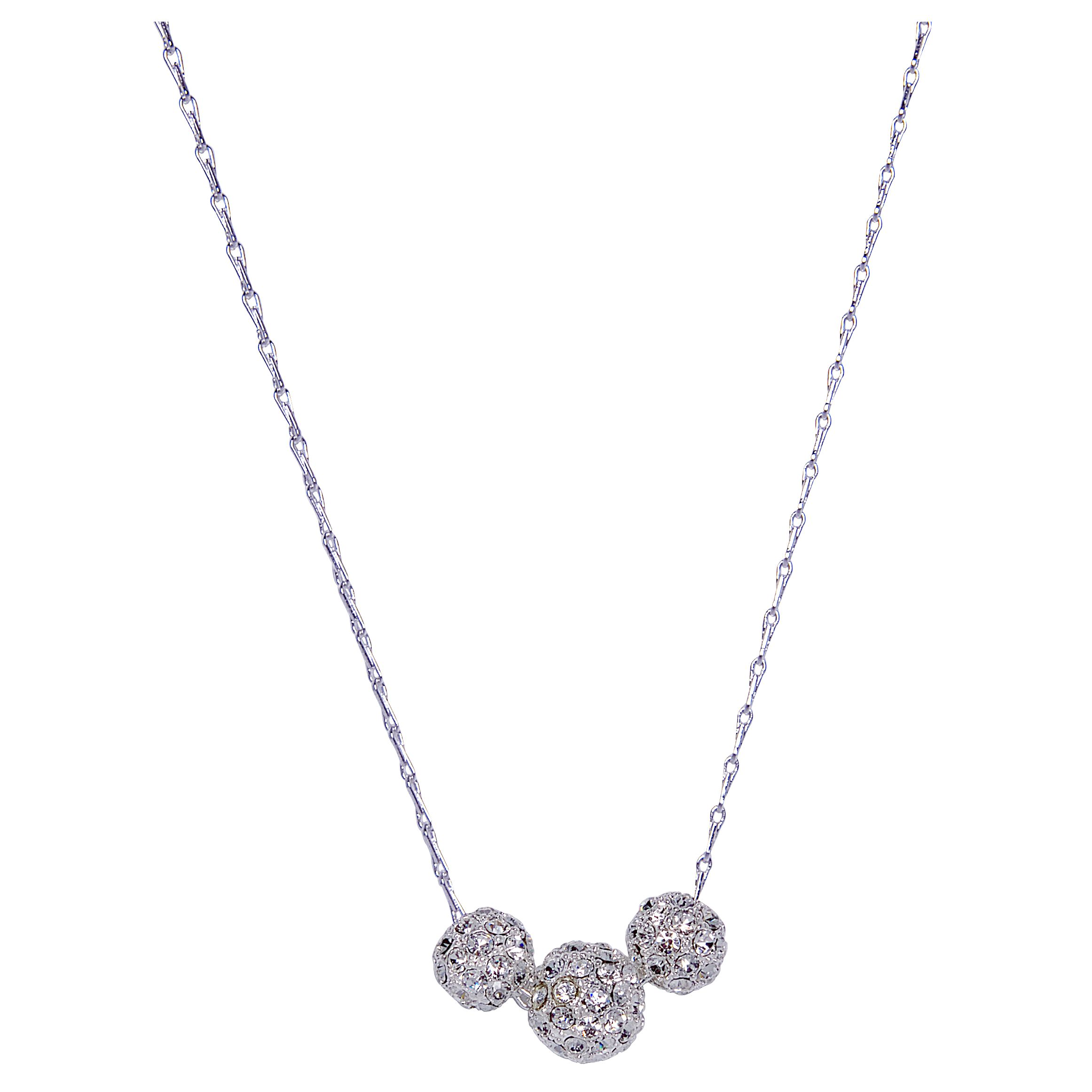 Monet Silver Cubic Zirconia Pave Crystal Necklace