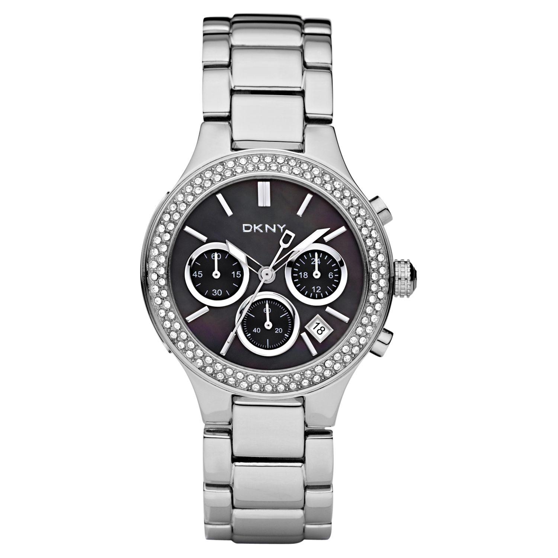 DKNY NY8270 Black Round Diamanté Set Bezel Chronograph Bracelet Watch
