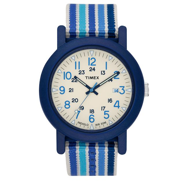 Timex Originals T2N492 Unisex Camper Round White Dial Multi Blue Fabric Strap Watch