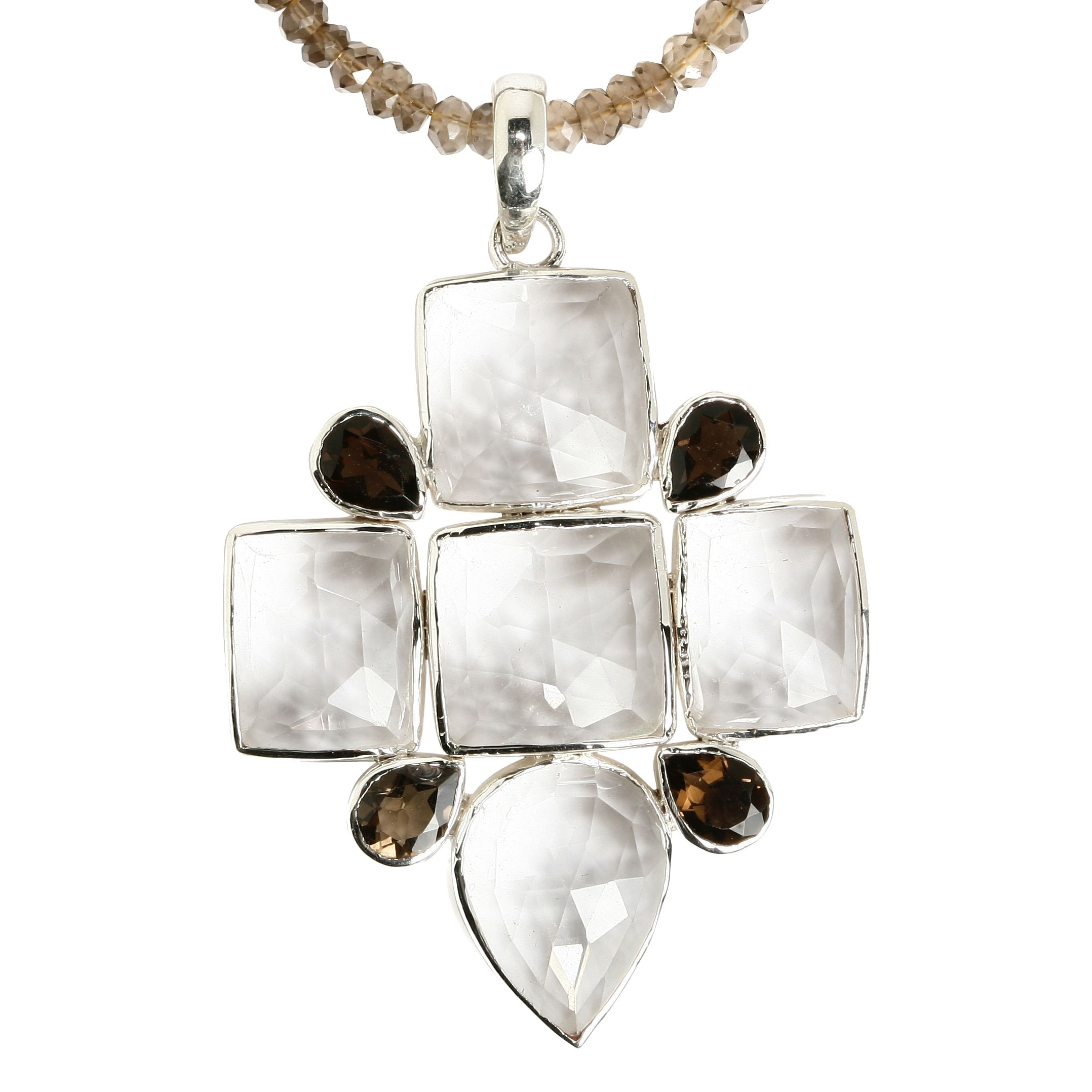 Emma Chapman Babylon Rose Smokey Topaz Cross Necklace