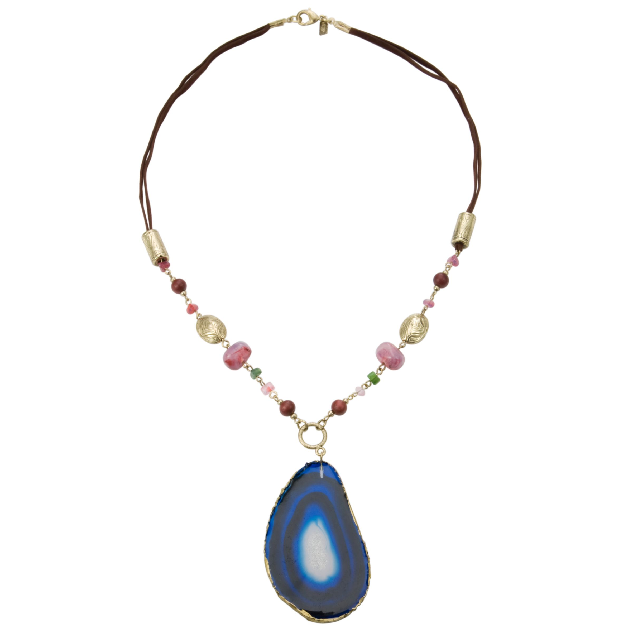 1928 Collection New York Blue Agate and Bead Drop Necklace