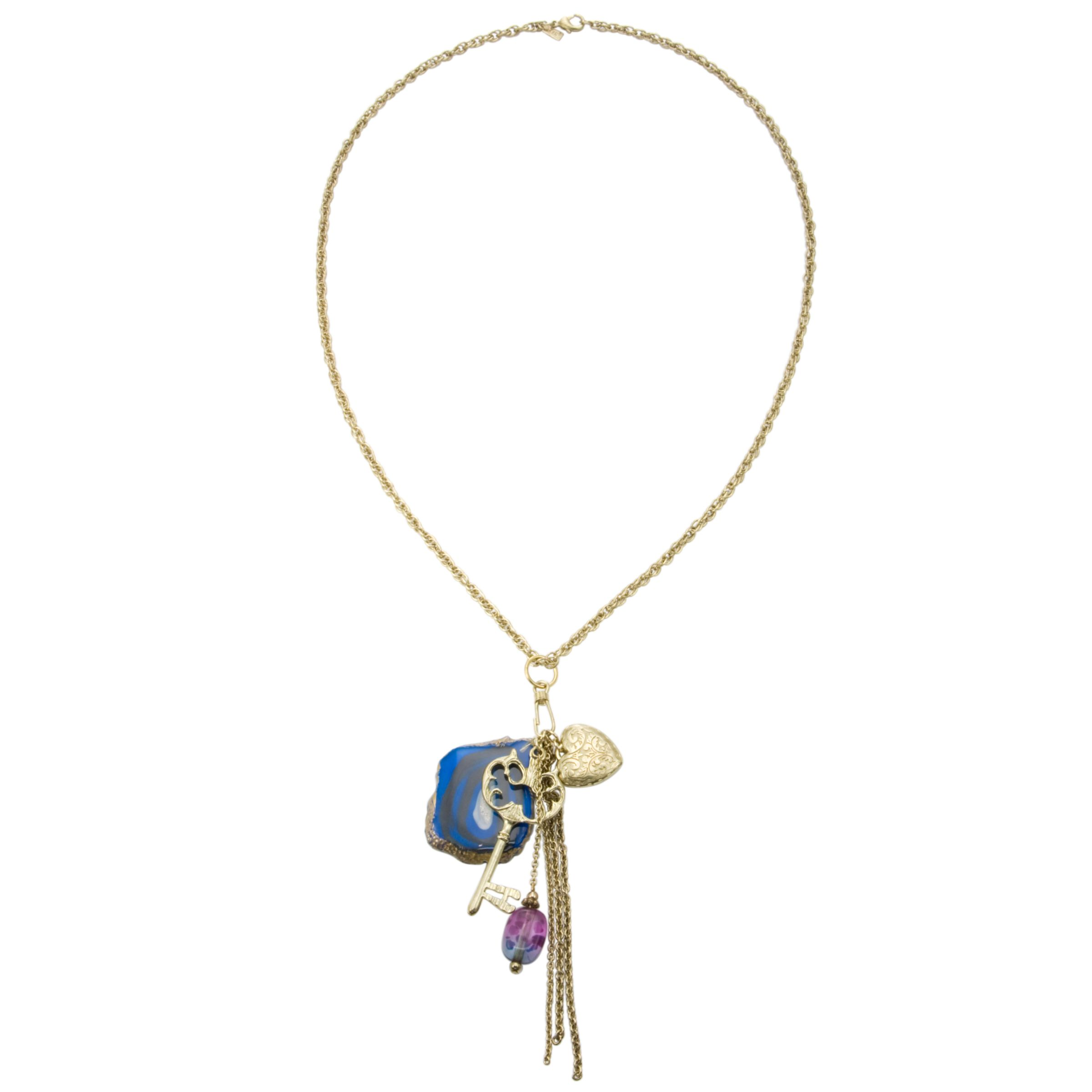 1928 Collection New York Blue Agate and Key Double Chain Drop Necklace