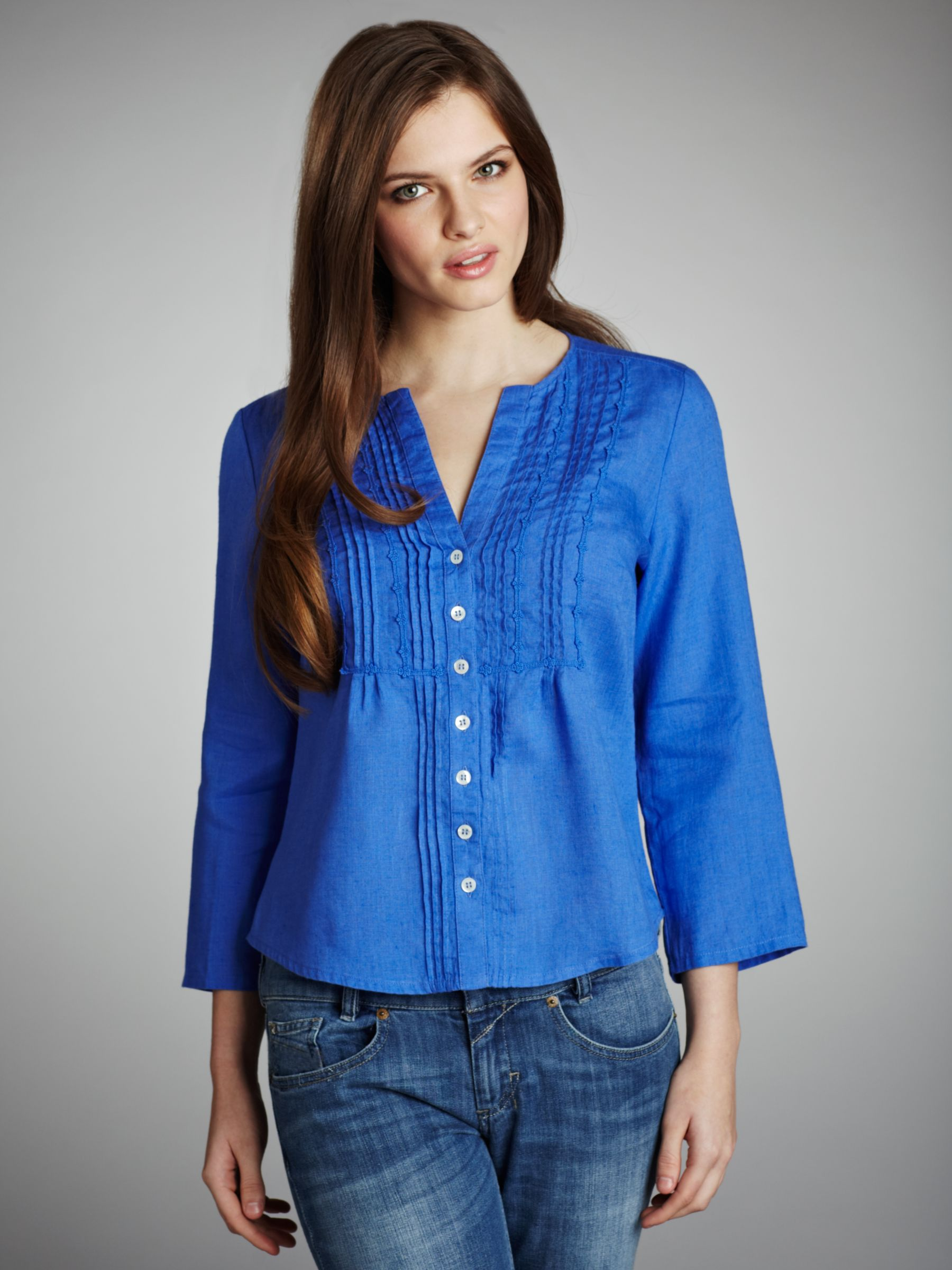 Crochet Trim Blouse, Chambray