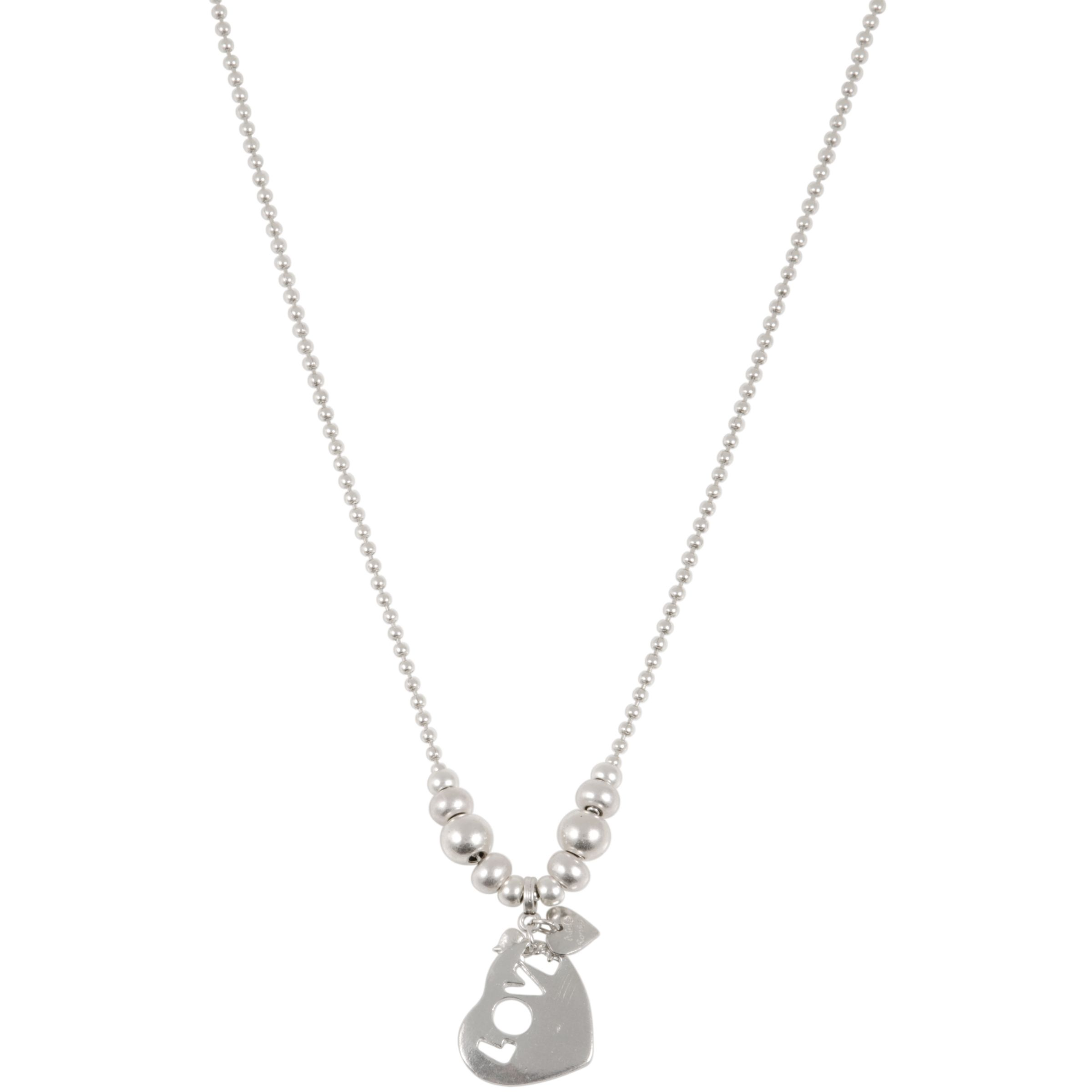 Adele Marie Silver Balls and Love Heart Charm Necklace