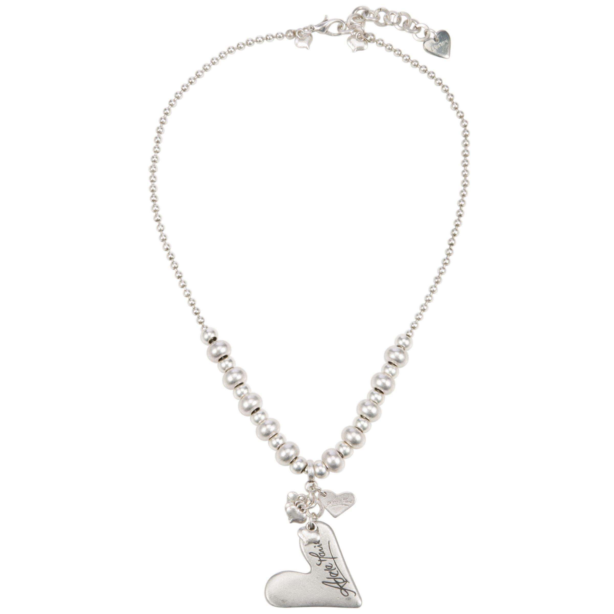 Adele Marie Silver Plated Ball Chain and Heart Charm Necklace
